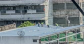 betoniarka : Engineer roofing construction factory General in Industrial estates.timelapse Wideo