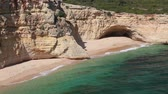 portugalia : Portugal footage of Atlantic coast landscape in Algarve region. Marinha Beach area - Praia da Malhada do Baraco. Wideo
