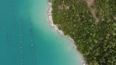 mediterranean mussel : Croatia oyster farms - aerial view of shellfish farming near Mali Ston bay (Peljesac Peninsula). Stock Footage