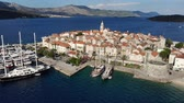 hırvat : Aerial view of Korcula island Old Town, Croatia Stok Video