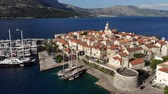 croata : Aerial view of Korcula island Old Town, Croatia Stock Footage