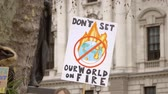 fossil fuels : London, UK - October 12th, 2019 : Dont Set Our World on Fire Protest Sign, Close up of a sign reading Dont Set Out World on Fire at a climate change protest in London, UK.