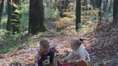First love. Kids in the forest. Children in the forest. Girl and boy playing in the forest. Autumn, summer. Happy kids walking in the forest.