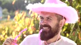 carnívoro : Close-up portrait of surprised and funny man. Bearded crazy man looking at the camera. Funny face. Stock Footage