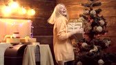 dyskoteka : Christmas gifts. Crazy christmas woman. Emotion facial expression. Merry christmas and Happy new year. Wideo