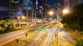 intersection : Street traffic in Hong Kong at night, timelapse Stock Footage