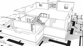 architecture : Construction of residential house, wireframe Stock Footage