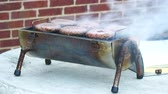 grelhado : Six Hamburgers Cooking On Table Top Grill