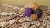 crocheting : A set of thread and crochet hooks for knitting. Stock Footage