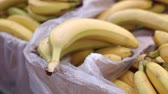 comestível : Bunch of bananas in boxes in supermarket, close-up. Vídeos