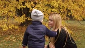 pomáhá : A little cute boy removes yellow leaves from his moms hair in the park for a walk in the fall. Happy young mother is walking with a child in an autumn park against a background of yellow trees.