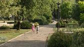 dráha : Two cute kids walking in the alley in summer Park. Two children, boy and girl, walking along a stone path holding hands in the park at sunset. Wide shot. Dostupné videozáznamy