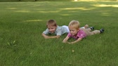potomstvo : Two cute little boys in shirts lying on the green grass and smiling, portrait. Summer vacation. Young children relax lying on the grass in Sunny weather.