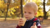 brilho : Little cute 4 year old boy eating ice cream in autumn Park at sunset and shows the thumb up, close-up. Slow motion. Portrait of a child in the Golden autumn Park with ice cream. Vídeos