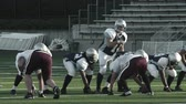 obrana : A quarterback stands at the line of scrimmage and prepares to hike the ball Dostupné videozáznamy