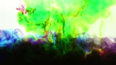 burmak : abstract green, blue and red ink in water on white background Stok Video