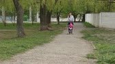 baby carriage : Mom wears a baby girl sitting in a stroller. Walking along the path Stock Footage