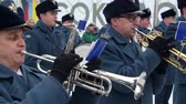trumpet : Sokolovo, Kharkiv region, Ukraine - 9 March 2018: A military brass band plays. Anniversary of the battle near the village of Sokolovo.