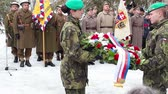 fegyveres : Sokolovo, Kharkiv region, Ukraine - March 9, 2018: Czech soldiers laying flowers at the monument. Anniversary of the battle near the village of Sokolovo.