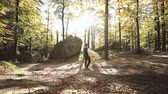 Wedding dance. Loving couple dances the ffirst dance in the autumn forest at sunset