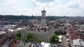 lviv : Aerial Roofs and streets Old City Lviv, Ukraine. Panorama of the ancient town. Town Hall, Ratush. Drone shot