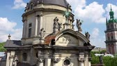 guildhall : Panorama of the ancient town. Ukraine Dominican. Aerial Roofs and streets Old City Lviv, Ukraine. Stock Footage
