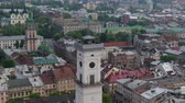 tourists : Panorama of the ancient town. Town Hall, Ratush. Drone shot Stock Footage