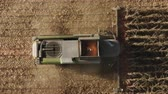 landbouwmachines : Combine Harvester Machine Harvesting Corn Field in Early Autumn Day Stockvideo