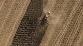 Top view: combines gathering corn from the agriculture field. Harvesting Crop Production. Electric Combine.