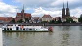 john : Ship traffic on the Oder river in Wroclaw - Poland.