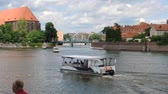 catholic church : Ship traffic on the Oder river in Wroclaw - Poland.
