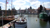 liman : Old town on the Vistula river in Gdansk - Poland. Stok Video