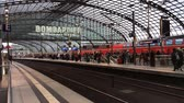 lokomotif : Central station of Berlin with passengers and train traffic - Germany.