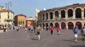 bh : Roman amphitheater Arena di Verona at the Piazza Bra square in the historic center of Verona - Italy. Stockvideo