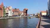 クレーン : Cityscape of Gdansk with Crane gate at the river Motlawa - Poland.