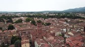 терракота : Lucca city. Aerial view landscape. Tuscany Italy. View from above Стоковые видеозаписи