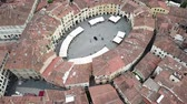 Amphitheater Square in Lucca city. Aerial view landscape. Tuscany Italy. View from above Wideo
