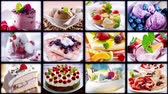 Food collage. Cakes and ice cream. Vídeos