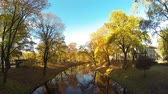 бастион : Timelapse Riga Canal in Autumn That Flows Through Bastion Hill Park (Bastejkalns). Latvia