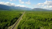 Bam road to Magadan in Siberia. Baikal-Amur Mainline. Russia. Areal Dron Shoot. Wideo