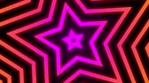 csillag : Vintage Retro Colorful Glowing Star Rotating Tunnel Background Loop.