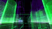 virtual world : Digital City Retro Glowing Background Loop. Stock Footage
