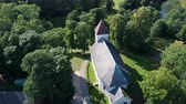 Aerial Dron Shot of the Cirava Lutheran Church Aizpute Latvia, Sunny Summer Day. Flaying Above the Church.from the Outside It Was Similar to Other Churches of Kurzeme