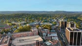 Aerial pull back footage of Morristown, NJ. Morristown has been called the military capital of the American Revolution, because of its strategic role in the war for independence from Great Britain
