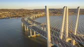 Aerial Hyperlapse of the new cable-stayed Tappan Zee bridge, spanning Hudson river between Nyack and Tarrytown in New York State Filmati Stock