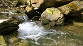 водослива : Quick mountain stream among stones. On a sunny day in summer or in spring. Close-up.