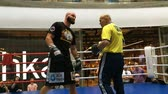 yumruk : Kiev, Ukraine, May 2018: - Ukrainian boxer Roman Golovashchenko with his coach is holding a free or open training session. The boxer fulfills blows. Stok Video