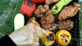 marinado : Human hands prepares a pickled tasty pork or beef meat and vegetables on a barbecue or on the grill. Vídeos