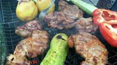 kuzu : Human hands prepares a pickled tasty pork or beef meat and vegetables on a barbecue or on the grill. Stok Video