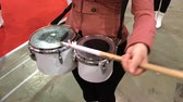 knocking : Kyiv, Ukraine, April 2018: - drummers are in the drum of their sticks and marching. Stock Footage